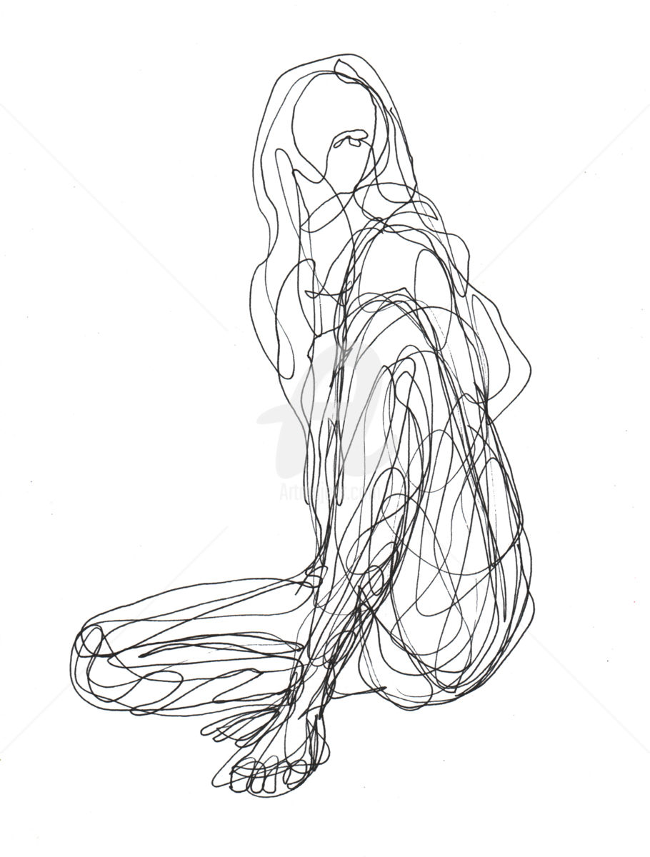 910x1200 One Line Drawing Woman 04 (Cuboism)