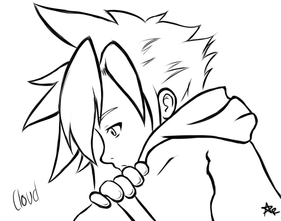 900x709 Young Cloud Strife Sketch Bye Piece Rulez