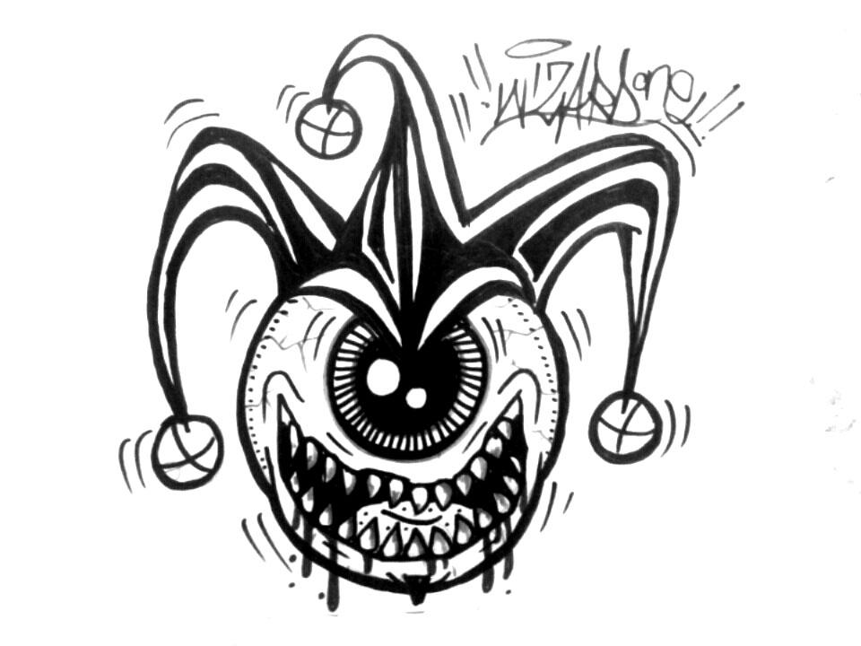 960x720e Eye Graffiti Joker Sticker By Wizard1labels