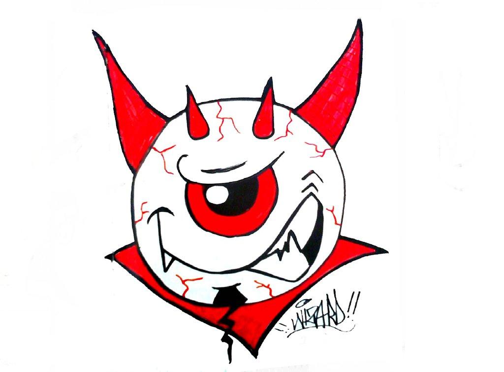 1024x755e Eye Graffiti Sticker Devil By Wizard1labels