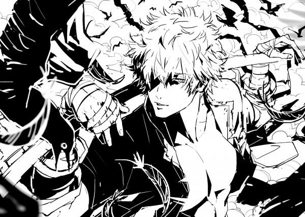 600x427 Gin Tama, Sakata Gintoki, Bandaged Arm, One Eye Showing Sketch