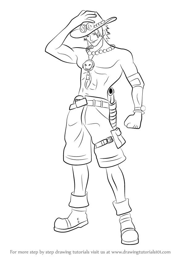 596x842 Learn How To Draw Portgas D. Ace From One Piece (One Piece) Step