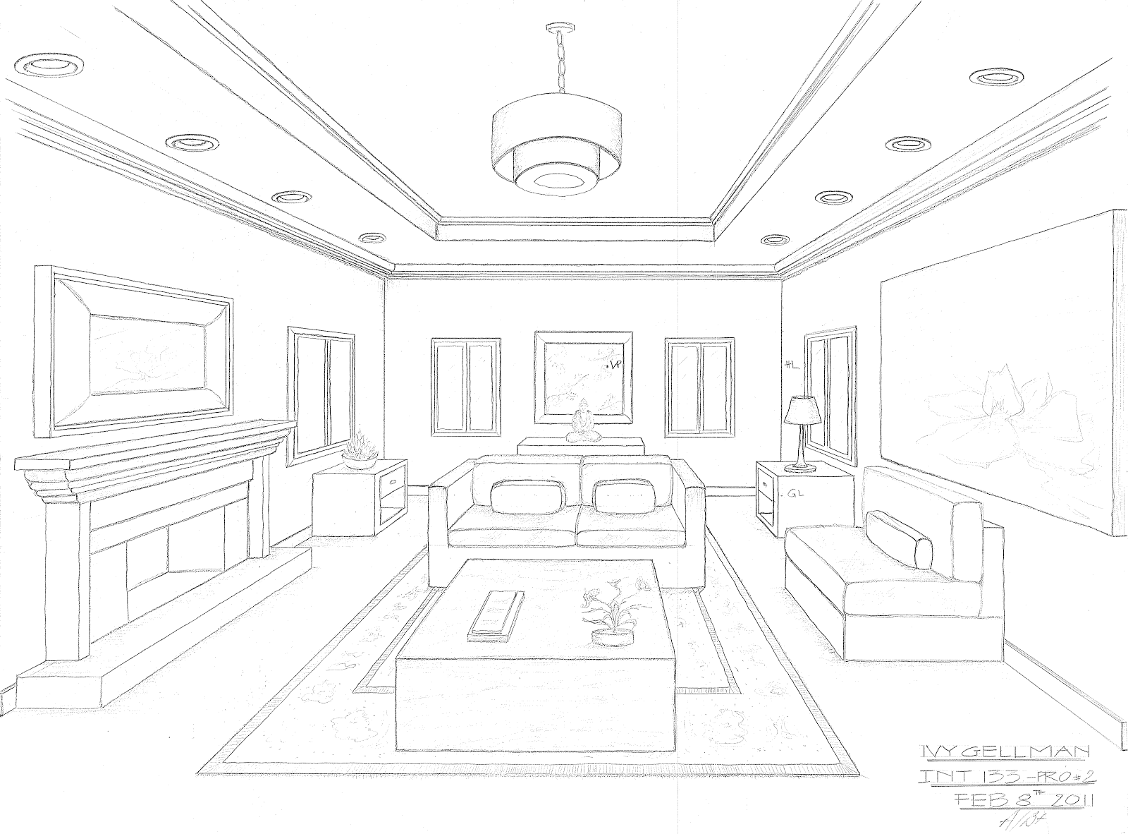 Line Drawing Vs Value Drawing : One point perspective bedroom drawing tutorial