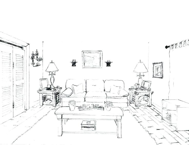 736x567 Living Room Draw The Living Room Living Room Drawing Picture