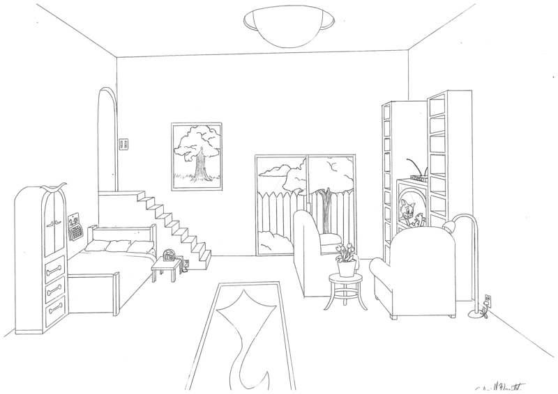 One point perspective bedroom drawing at - One point perspective living room sketch ...