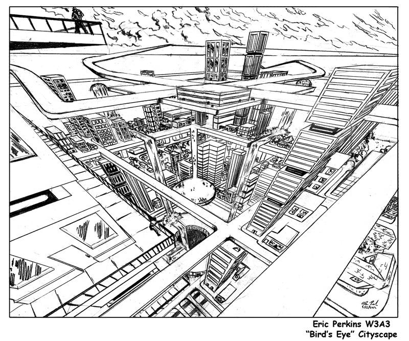 800x667 Cityscape In 3 Point Perspective. Bird's Eye View By Battlereaper