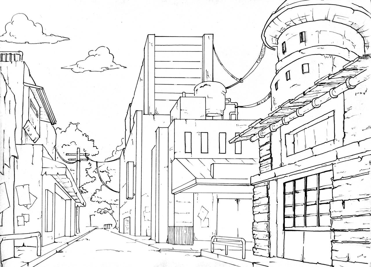 1280x922 Drawing Buildings In One Point Perspective Perspective