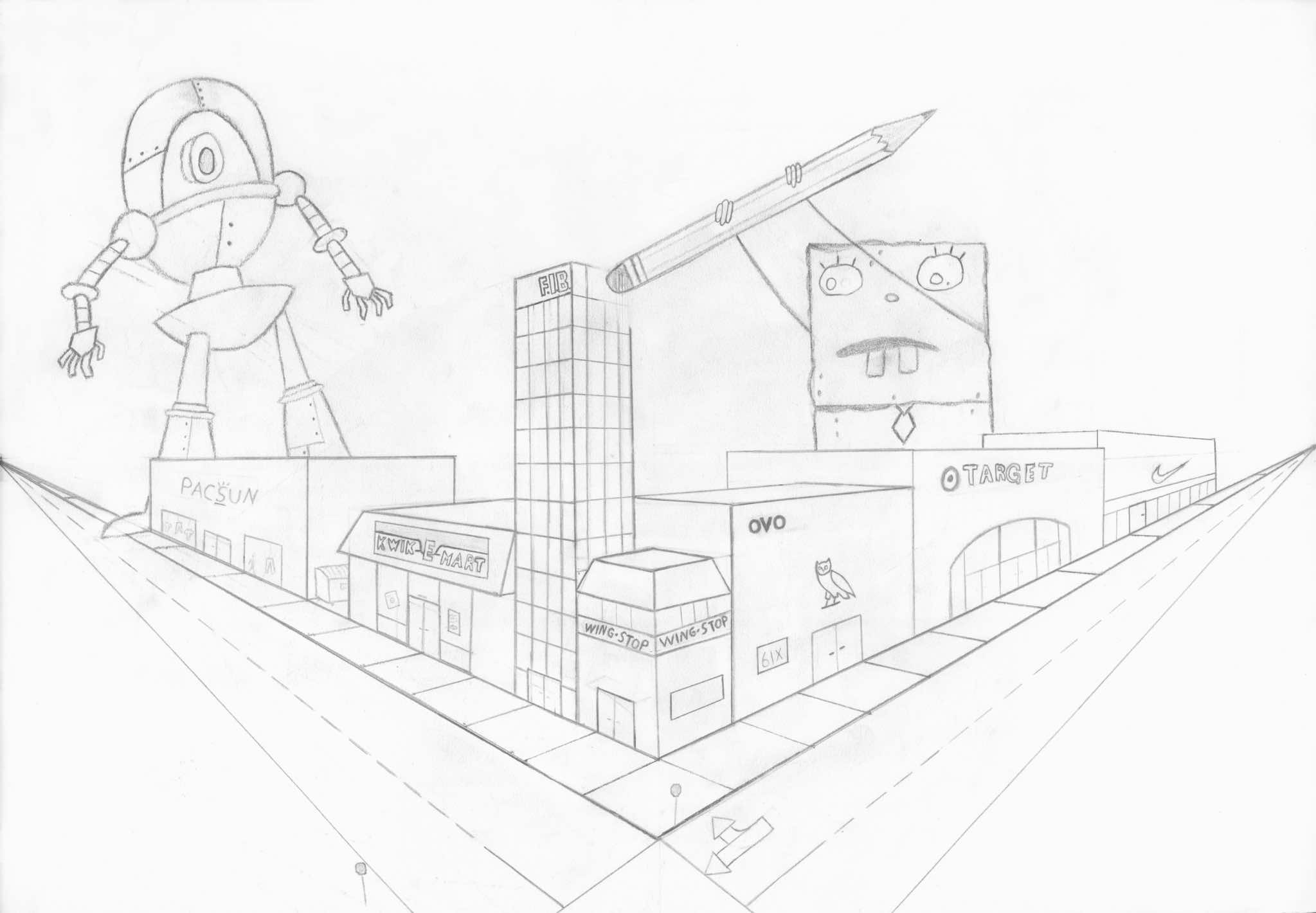 how to draw a roof in one point perspective