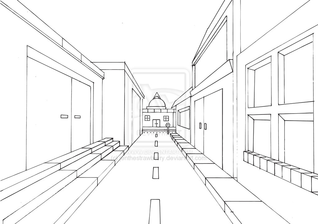 1024x722 Street View In One Point Perspective By Jenthestrawberry Art