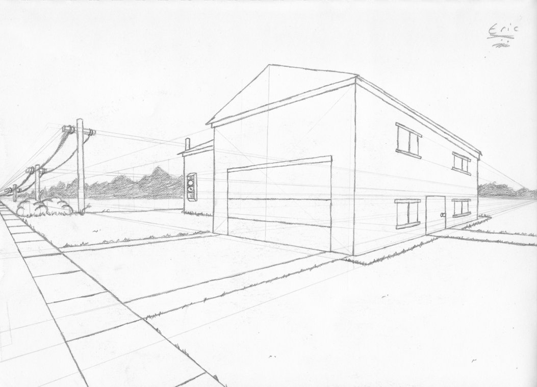 1053x759 Two Point Perspective Drawing Easy Simple 2 Point Perspective