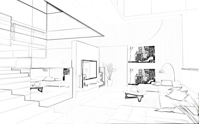 687x429 Living Room Living Room Drawing Step By Best One Point
