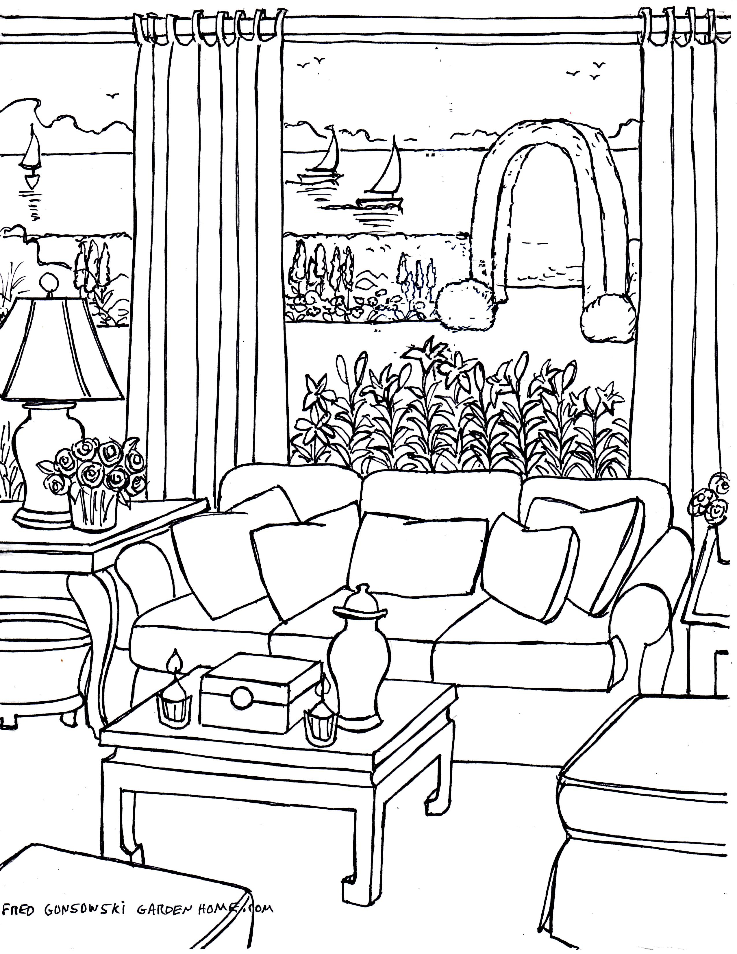 drawing living room one point perspective room drawing at getdrawings 11638