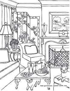 232x300 Living Room Living Room One Point Perspective Interior Drawing