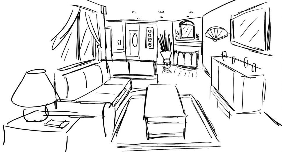 970x524 Living Room One Point Perspective Living Room Drawing