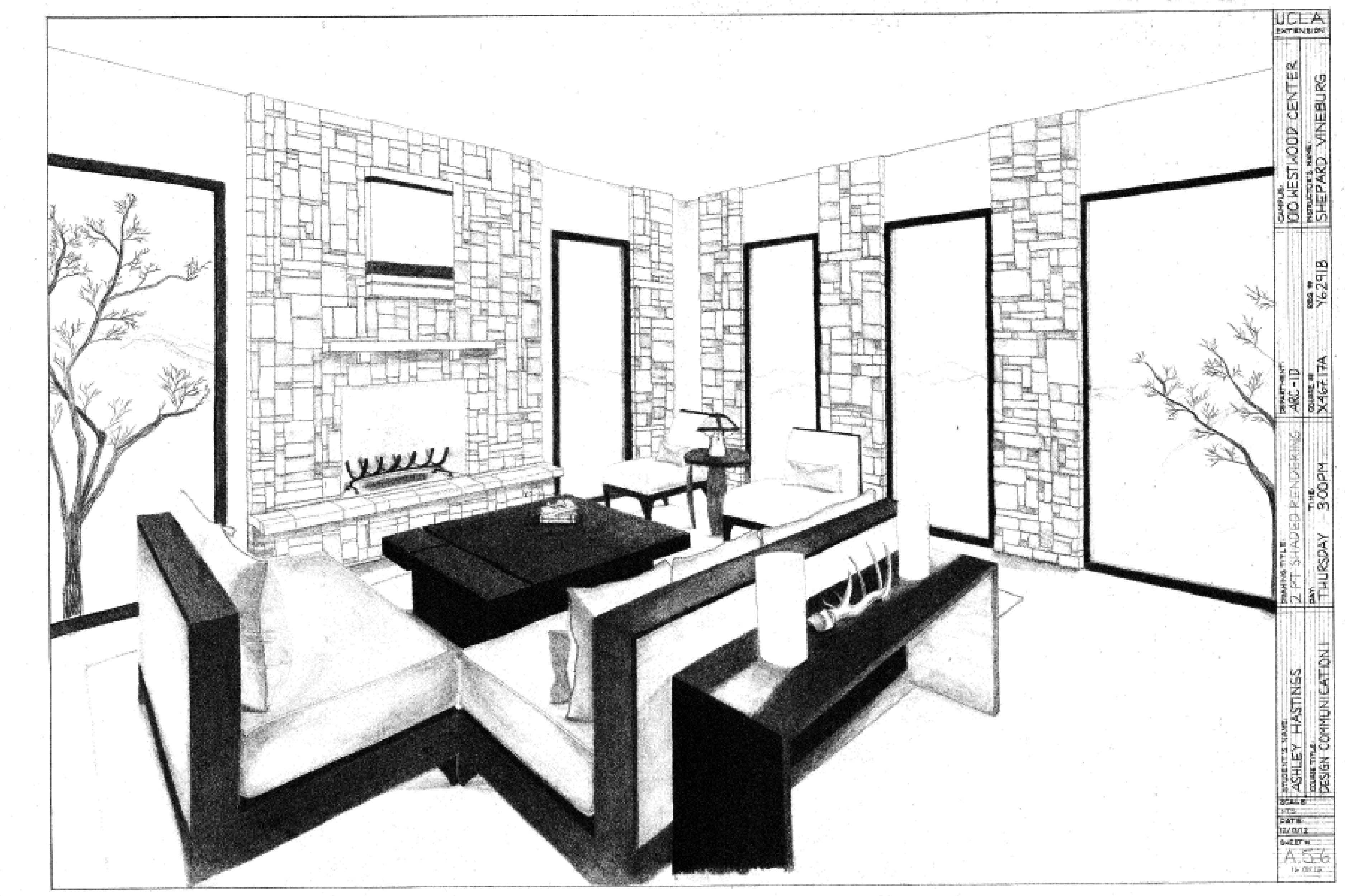 3751x2500 2 Point Perspective Living Room Drawing
