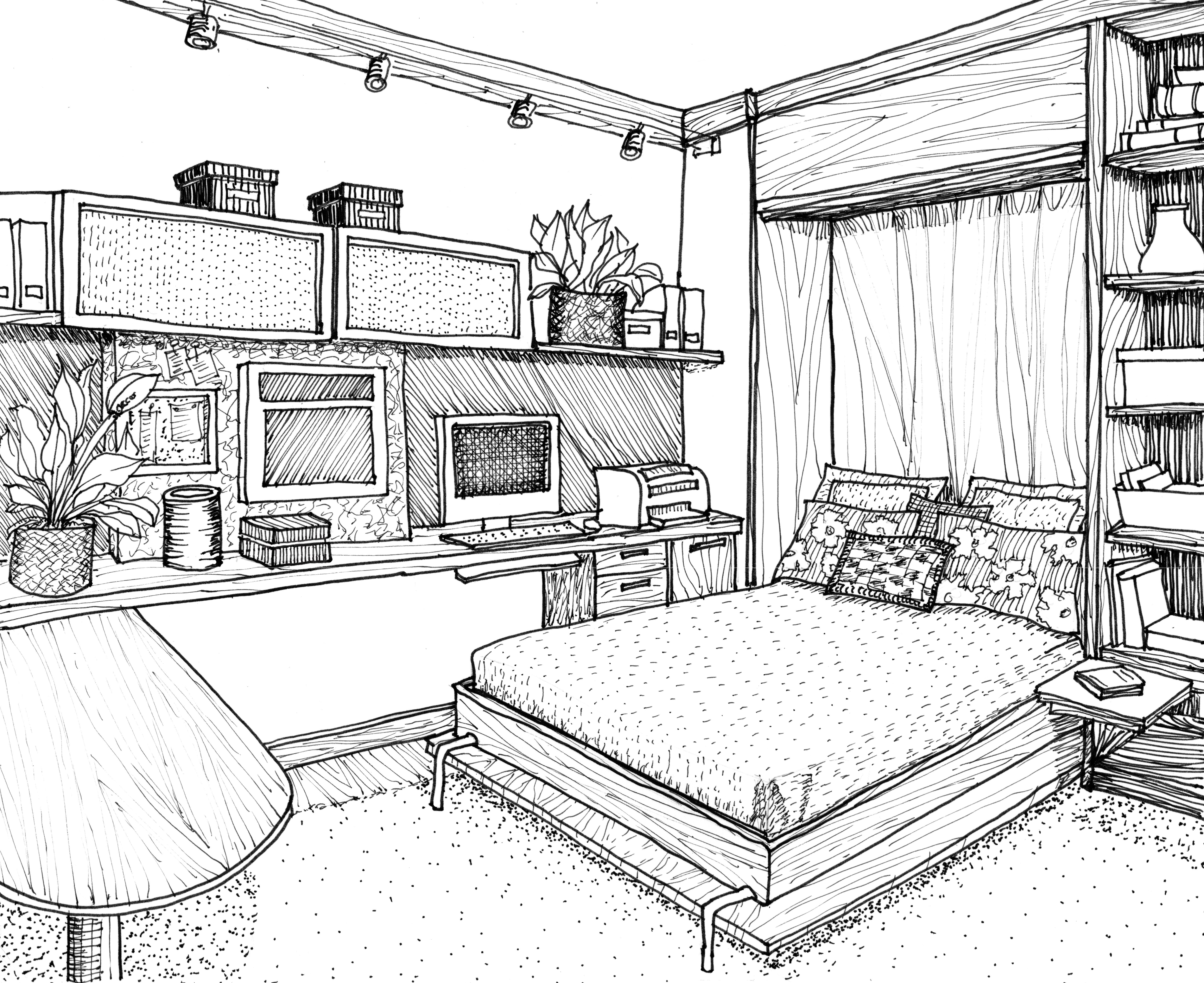 5830x4761 Perspective Drawing Of A Bedroom