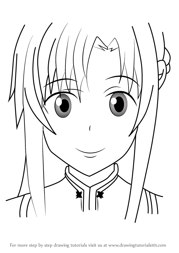 596x843 Learn How To Draw Yuuki Asuna From Sword Art Online (Sword Art