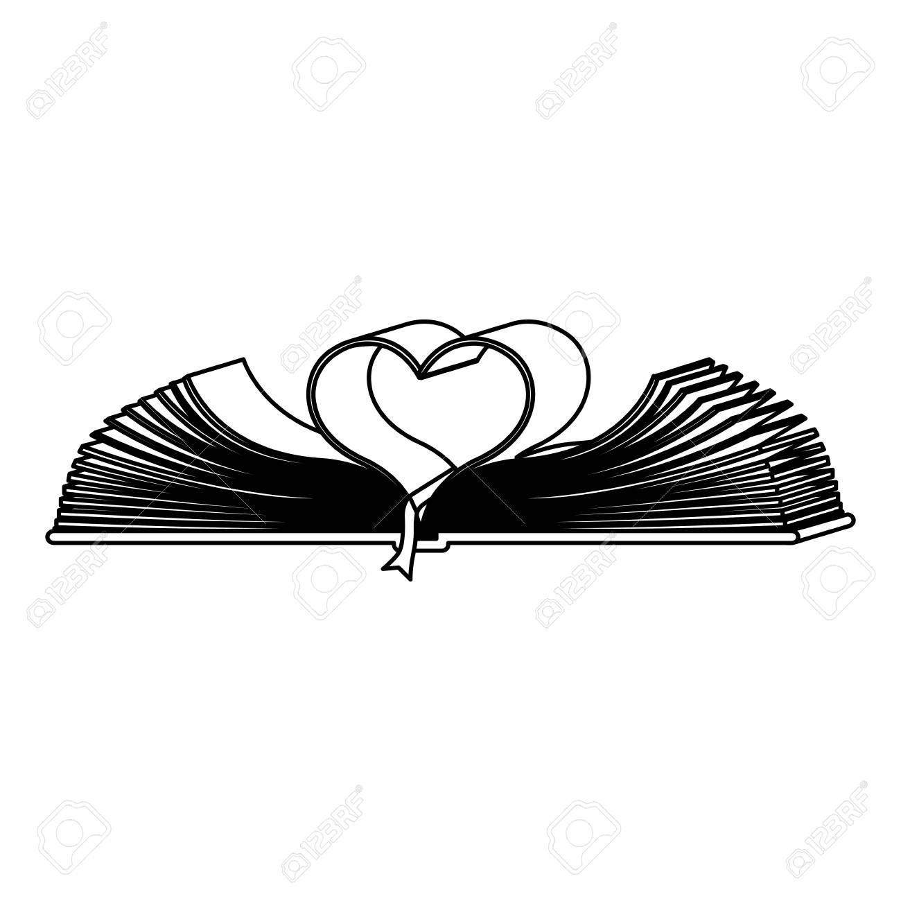 1300x1300 Monochrome Contour With Holy Bible Open With Sheets In Shape Heart