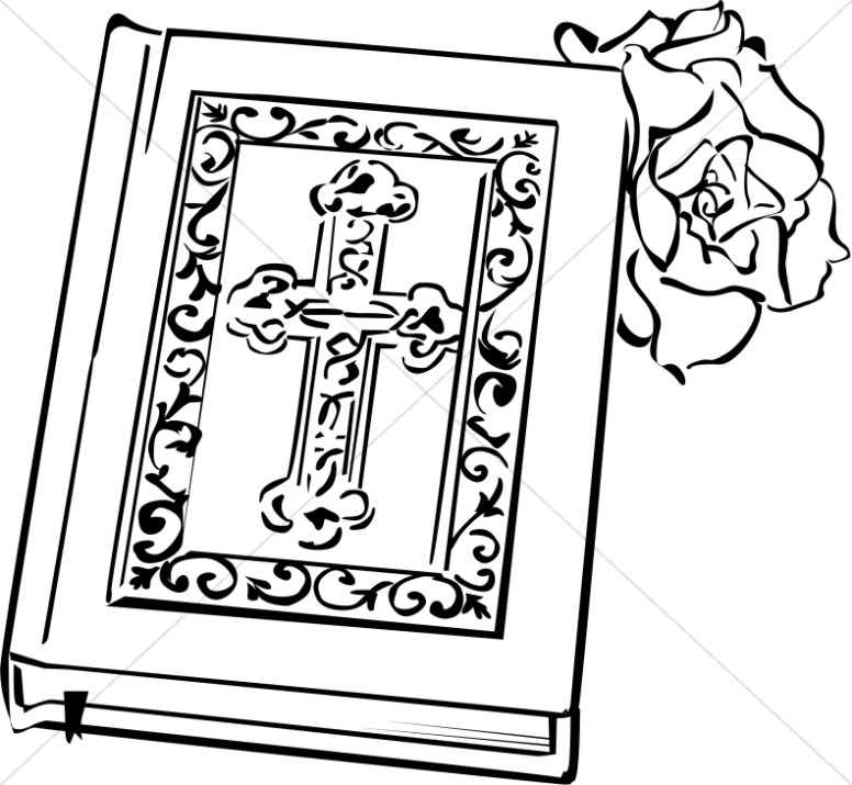 776x715 Open Bible With Rose Bible Clipart