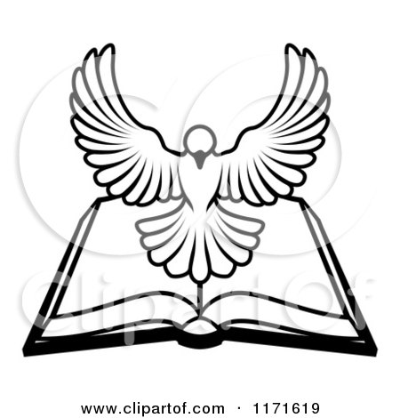 450x470 Black And White Holy Spirit Dove Above An Open Bible Posters, Art