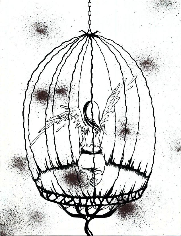 636x830 Bird In Cage Drawing Birdcage Design Ideas