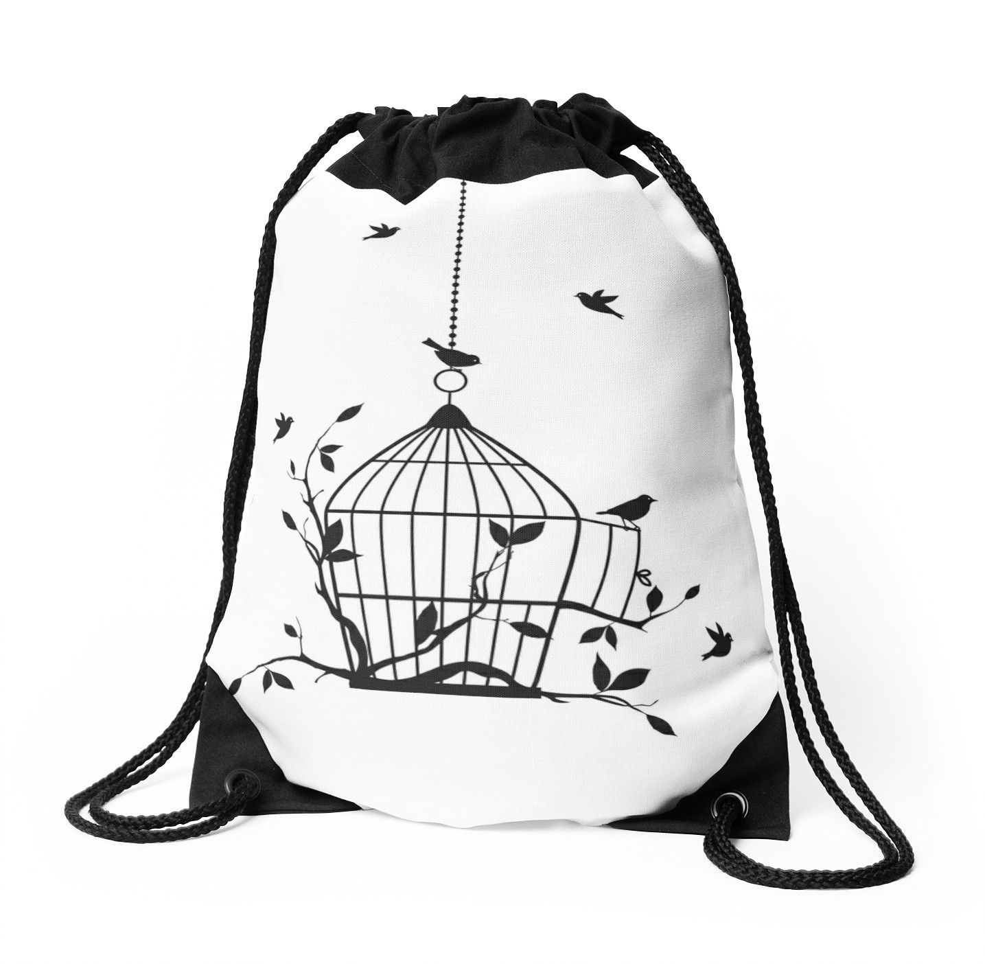 1435x1404 Free Birds With Open Birdcage Drawstring Bags By Beakraus Redbubble