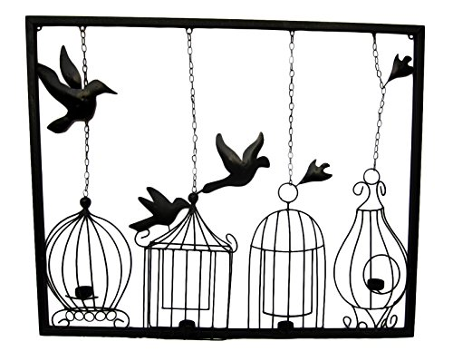 500x398 Freelogix Birdcage Tealight Metal Wall Art With Candle Holders