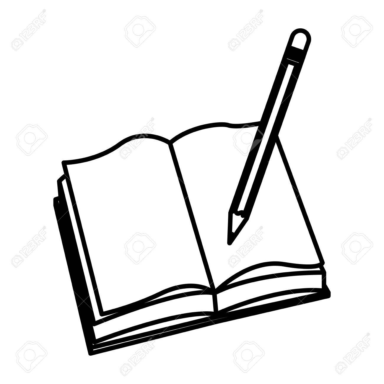 1300x1300 Open Book Pencil Write School Image Vector Illustration Royalty