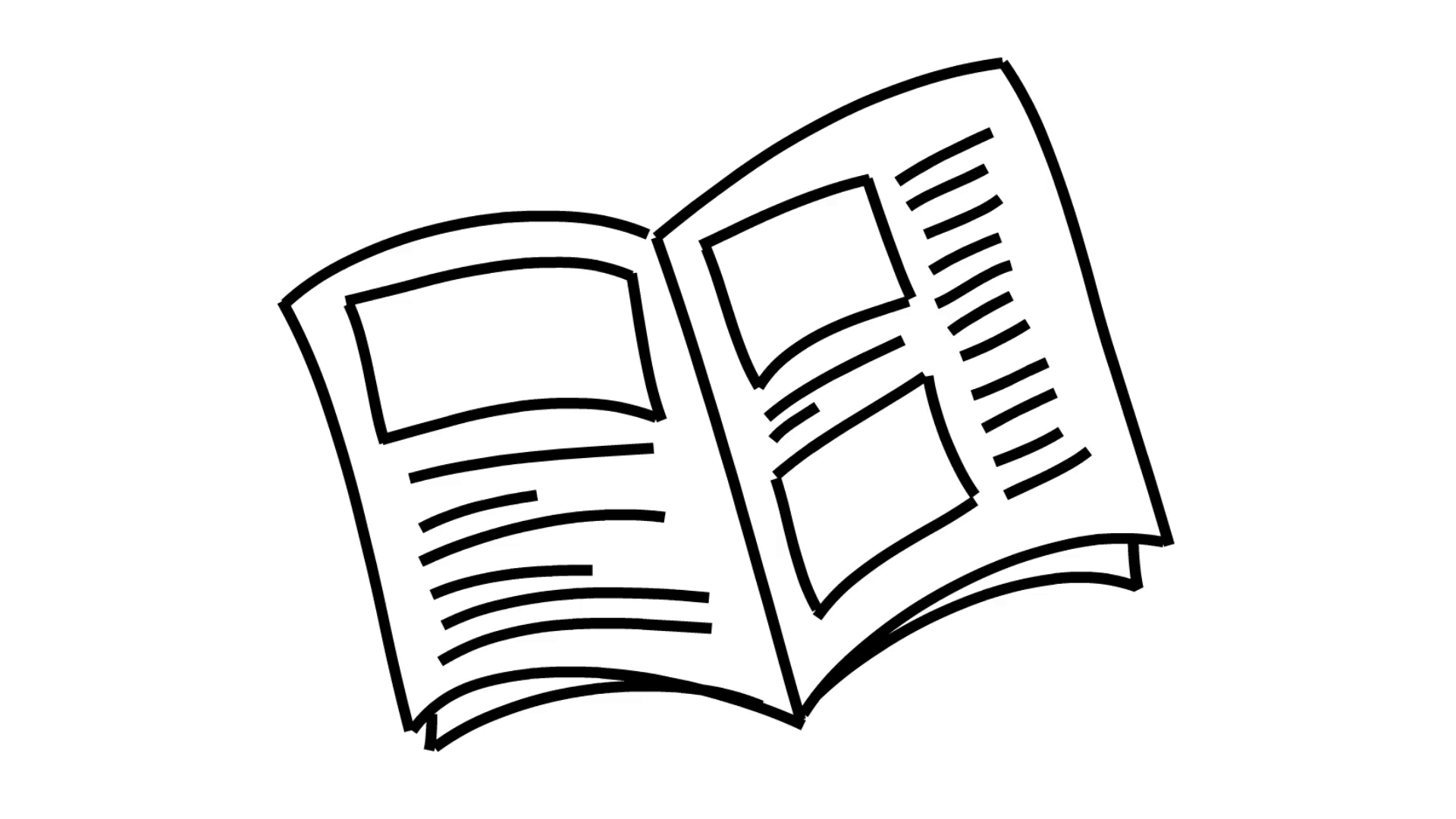 1920x1080 Open Book Line Drawing Illustration Animation With Transparent