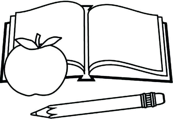 Open book drawing at free for personal for Open book coloring page