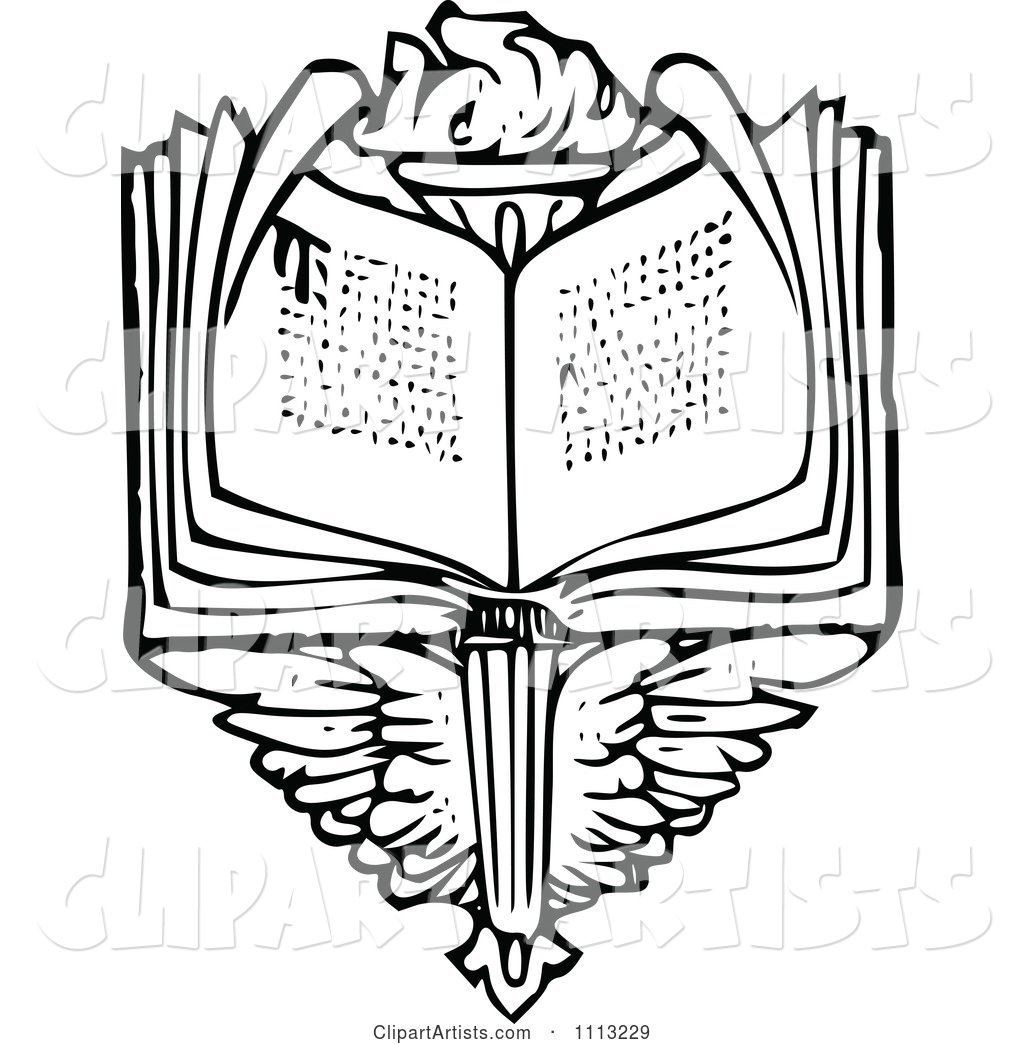1024x1044 Vintage Black And White Open Book Over Wings And A Torch Clipart