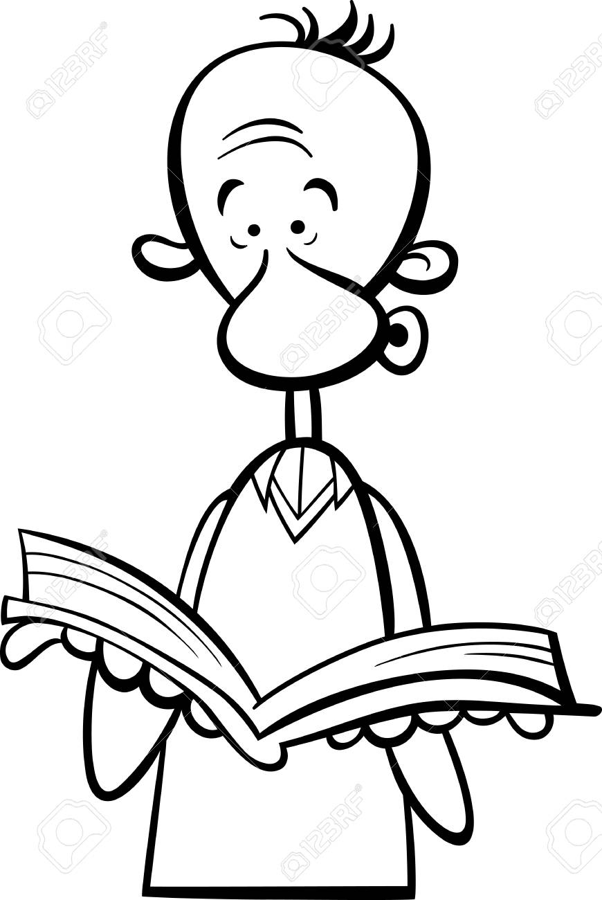 870x1300 Black And White Cartoon Illustration Of Funny Man With Open Book