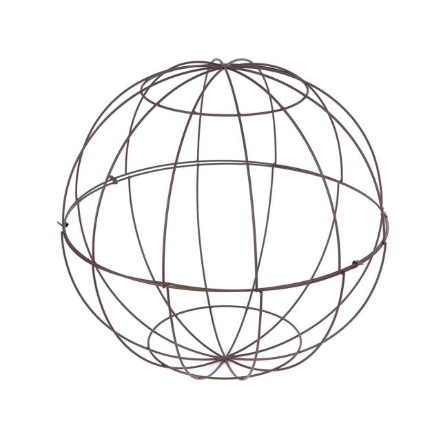 640x640 Openbox Skalny 82844 31.25 Round Brown Metal Wire Topiary Sphere