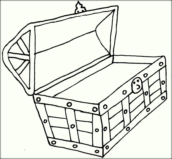 600x554 Treasure Box Coloring Sheet