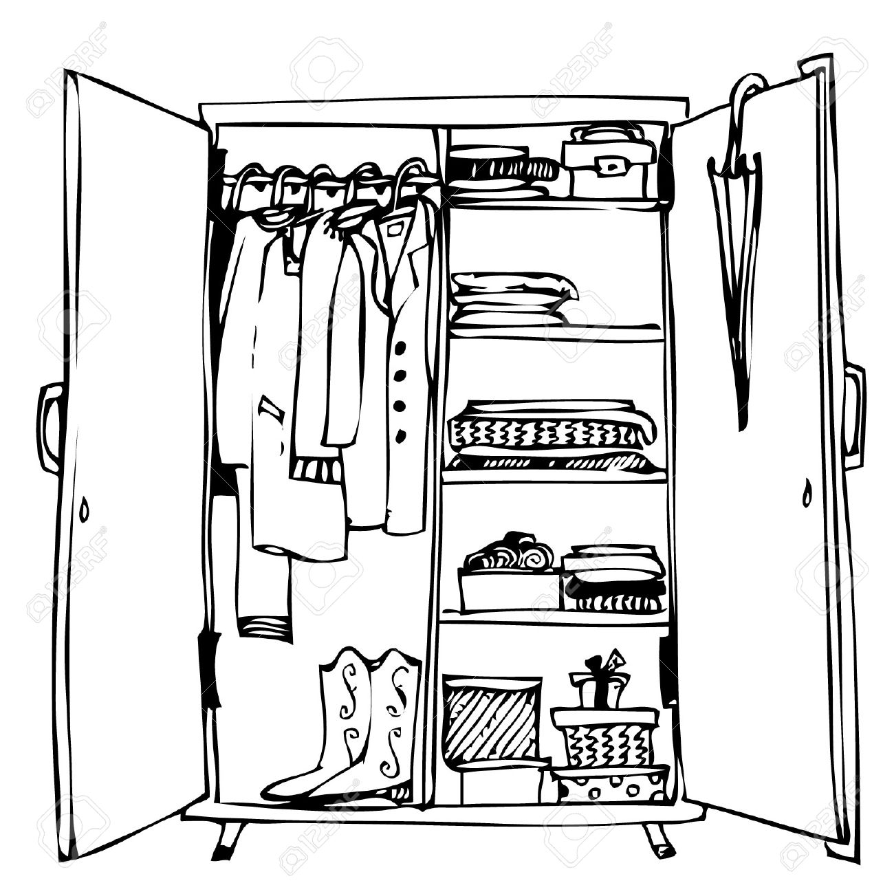 1300x1300 Pleasing Open Closet Door Drawing Inspiration Of Open Closet