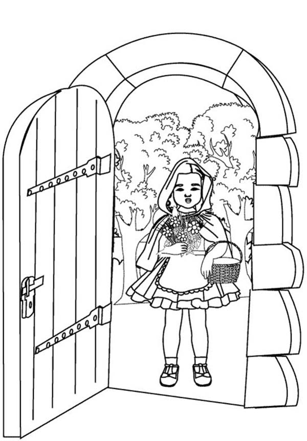 600x863 Red Riding Hood Open Grandma House Door Coloring Pages Batch