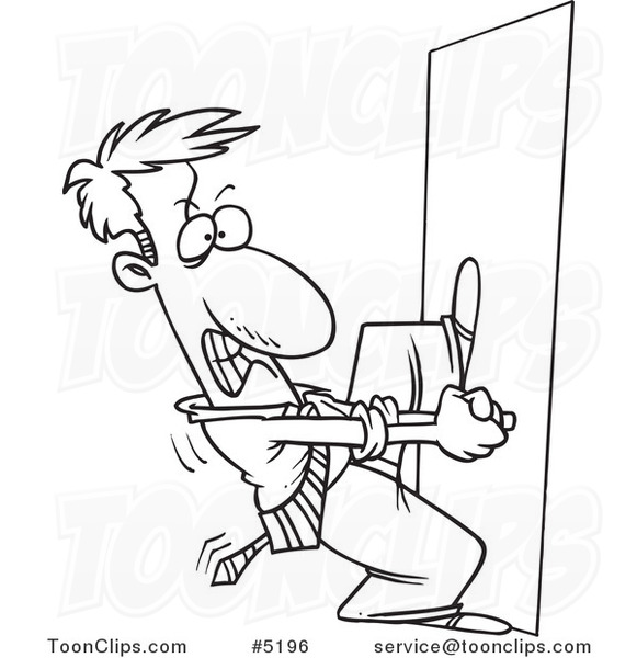 581x600 Cartoon Black And White Line Drawing Of A Locked Out Business Man