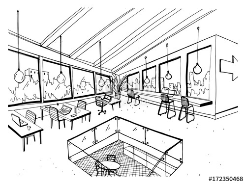 500x375 Freehand Drawing Of Open Space Or Coworking With Large Panoramic
