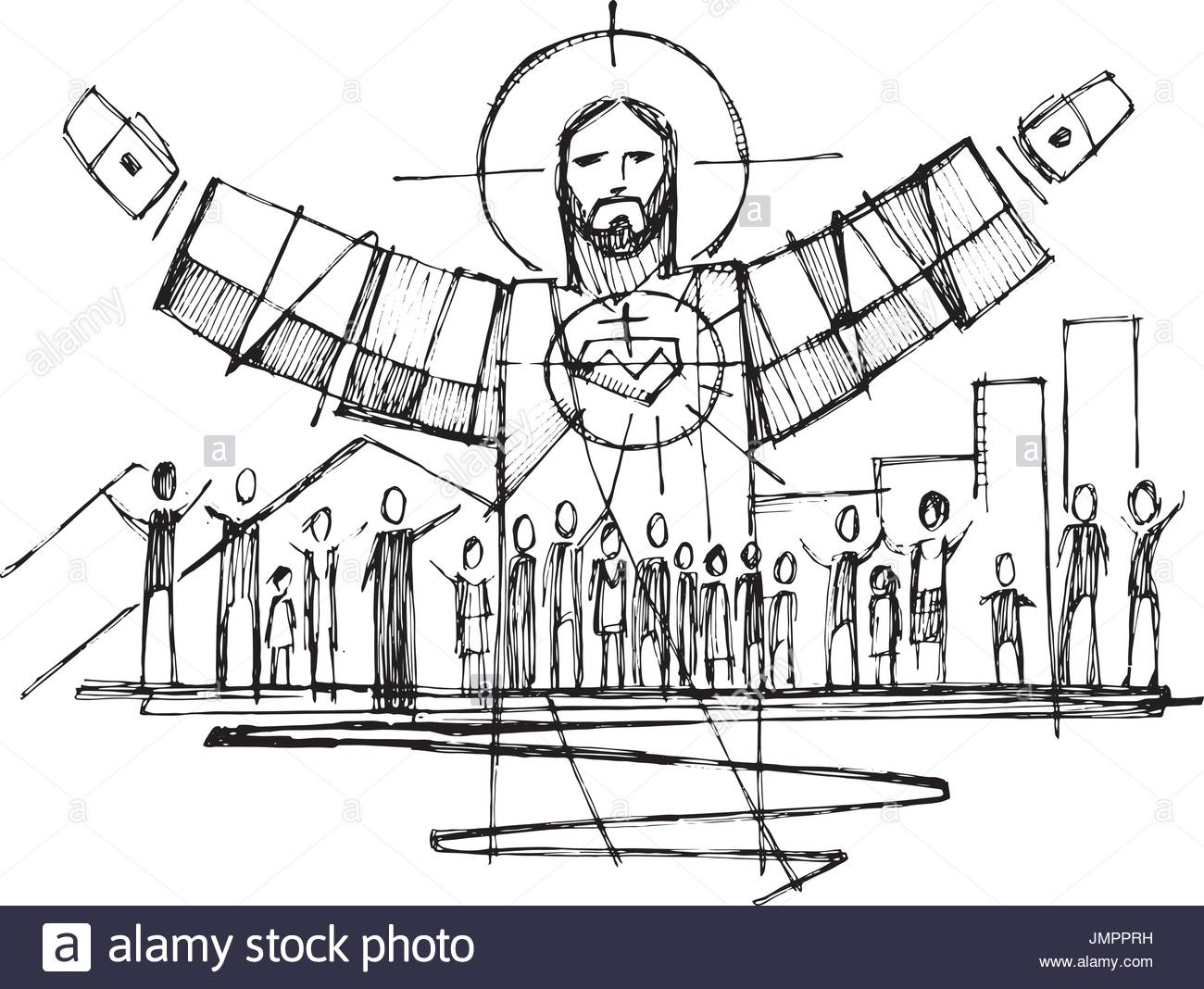 1300x1068 Hand Drawn Vector Illustration Or Drawing Of Jesus Christ