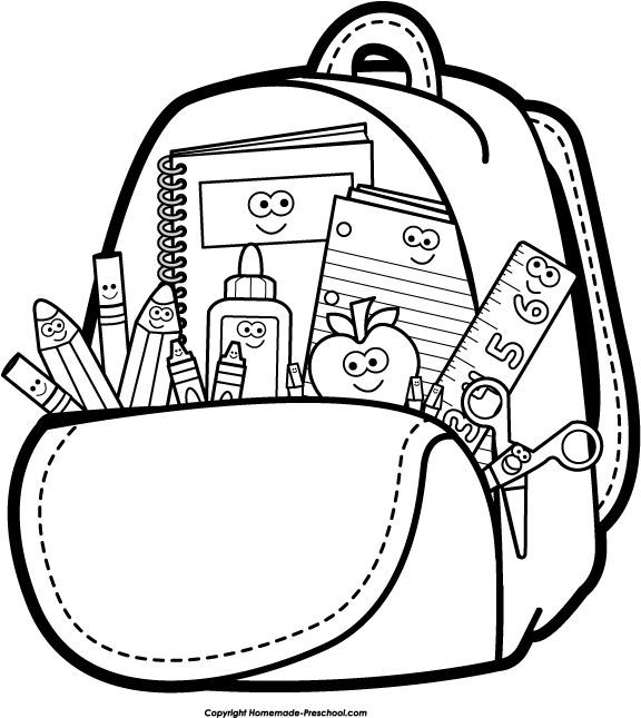 576x645 Open School Bag Clipart