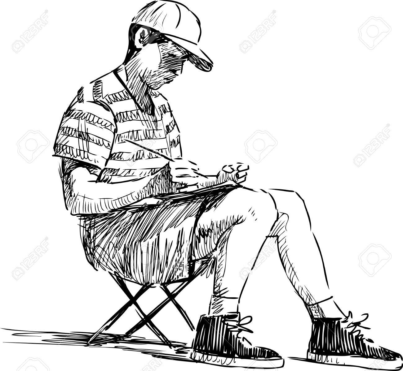 1300x1199 Vector Drawing Of A Schoolboy Makes Sketches On Open Air Royalty