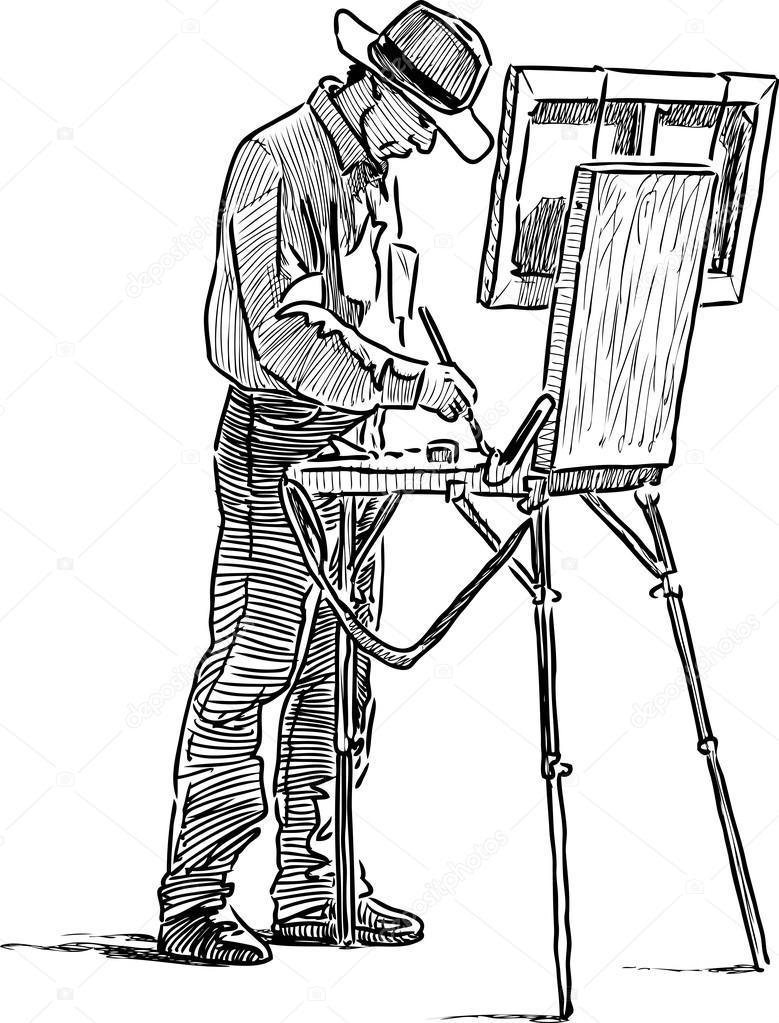 779x1023 Painter On Open Air Stock Vector Alekseimakarov