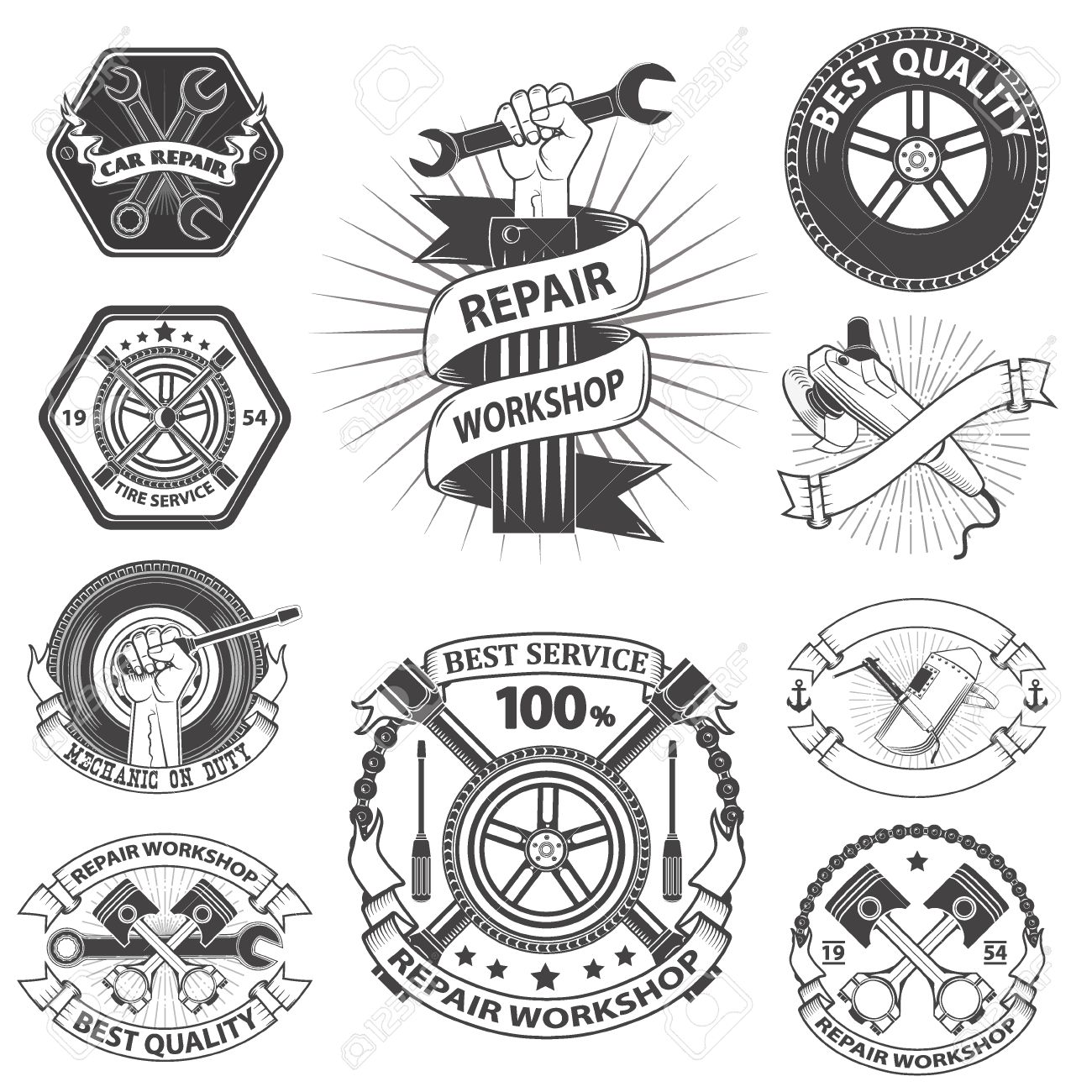 1300x1300 Logo For Repair Workshop. Emblem Mechanics. Tools Mechanics
