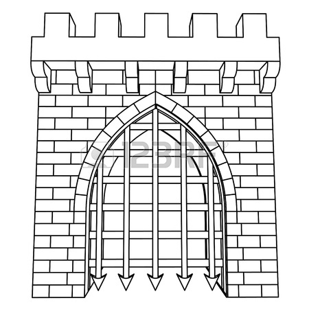450x450 Isolated Medieval Gate Vector Drawing To Color In Illustration