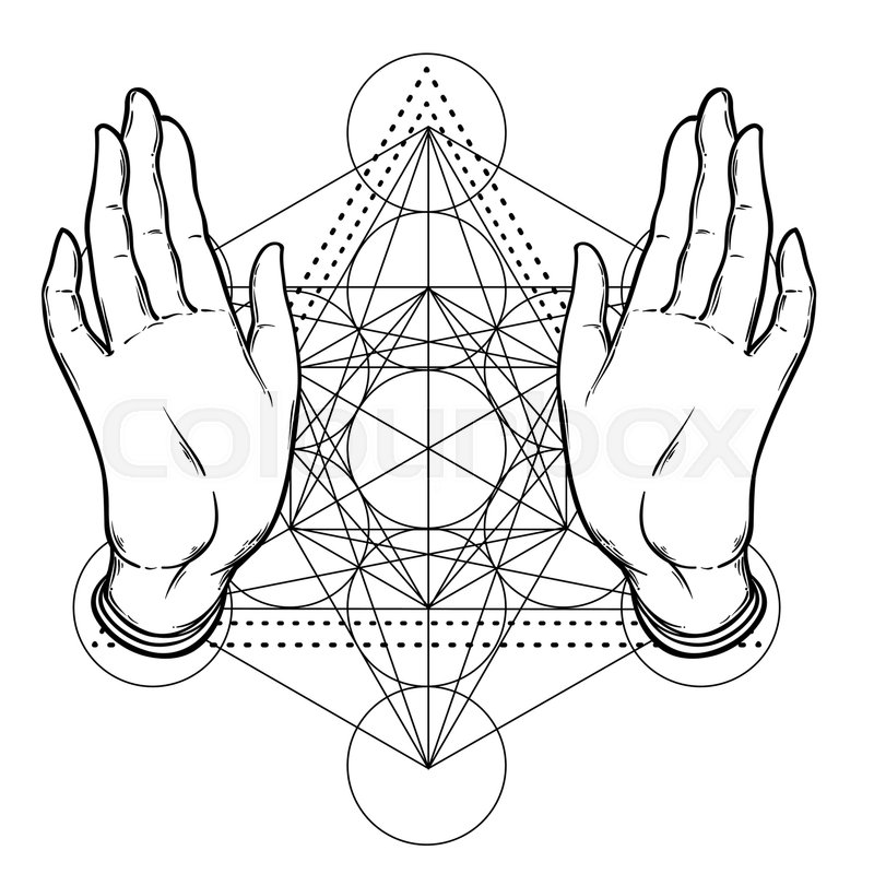 800x800 Open Hands Over Sacred Geometry, Metatrons Cube, Flower Of Life