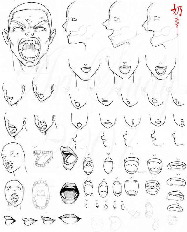 638x793 Study Open Mouths By Nai Xain On How To Draw Lips