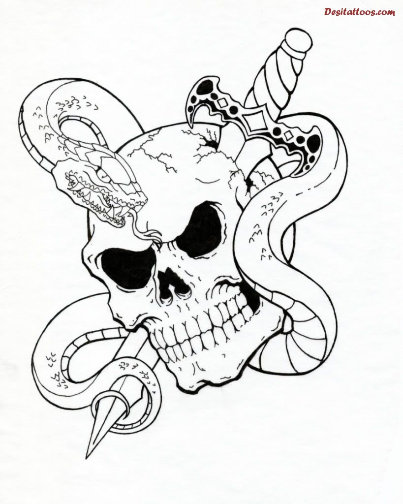 Open Mouth Skull Drawing