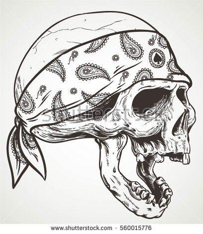 408x470 Head Skull Wear Bandana Isolated Skulls And Art