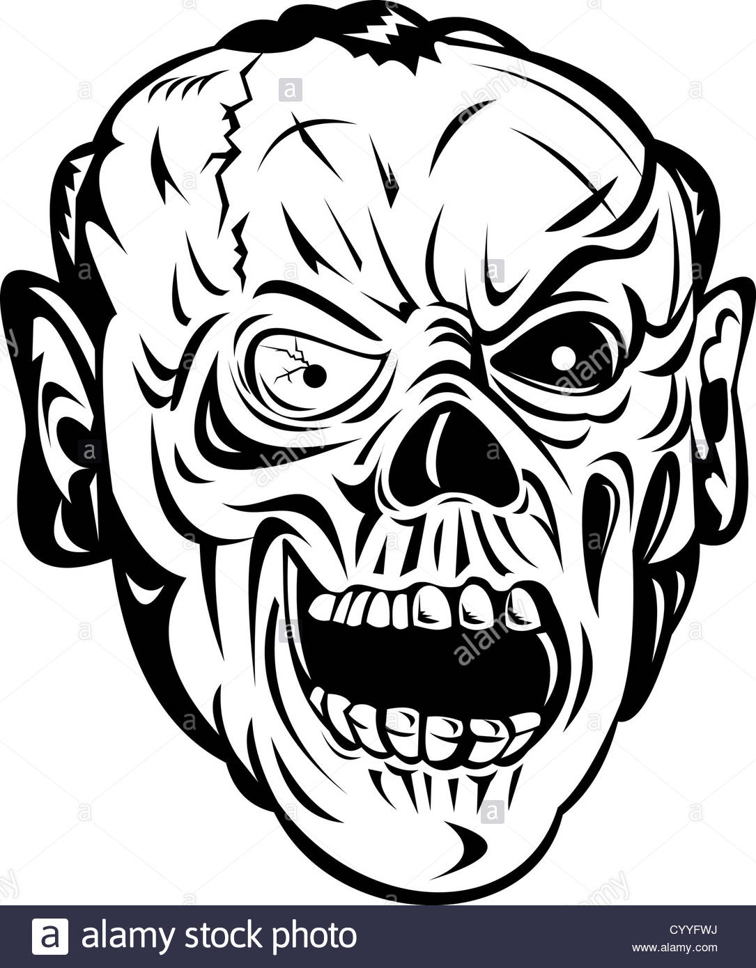 1085x1390 Illustration Of A Skull Face Head Monster Stock Photo, Royalty