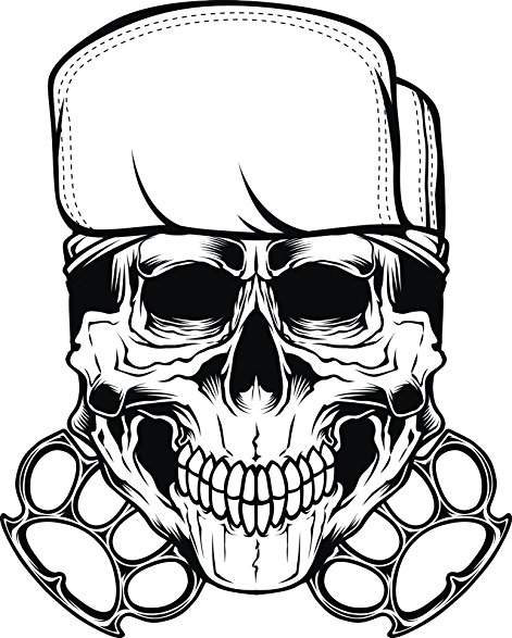 471x587 Scary Gangster Skull With Cap And Iron Knuckles Vinyl